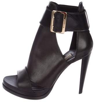 Burberry Leather Peep-Toe Ankle Booties