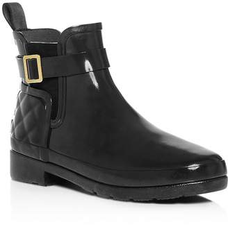 Hunter Refined Gloss Quilted Chelsea Rain Booties
