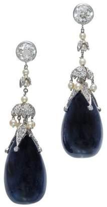 Platinum Diamond Pearl Sapphire Dangle Earrings