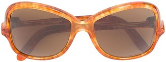 Saint Laurent Pre-Owned marble-effect oversized sunglasses