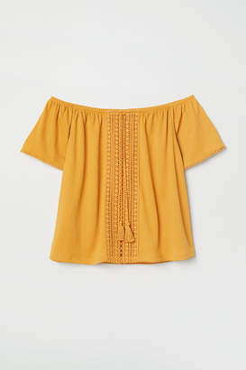 H&M Off-the-shoulder Blouse - Yellow