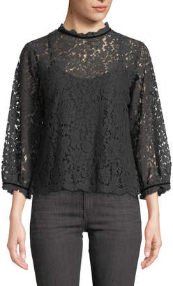 Velvet by Graham & Spencer High-Neck Lace 3/4-Sleeve Blouse