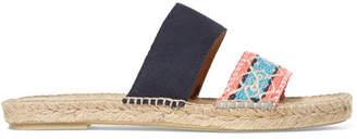 Manebi Hamptons Suede And Brocade Espadrille Slides - Beige