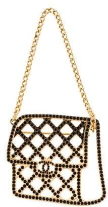 Chanel Strass Flap Bag Brooch Gold Chanel Strass Flap Bag Brooch