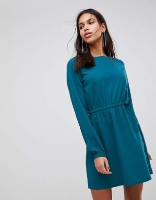 Vila Gathered Waist Long Sleeve Dress
