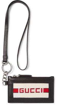 Gucci Webbing-Trimmed Full-Grain Leather Cardholder