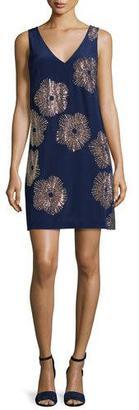 Trina Turk Sleeveless Embellished Silk Shift Dress, Midnight $368 thestylecure.com