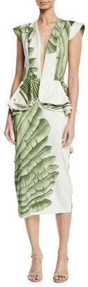 Johanna Ortiz Natural Listic Plunging Cap-Sleeve Palm-Print Stretch Cotton-Sateen Midi Dress