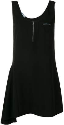 Prada zipped sleeveless asymmetric dress