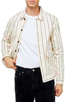 Topman Pinstripe Button-Up Shirt Jacket
