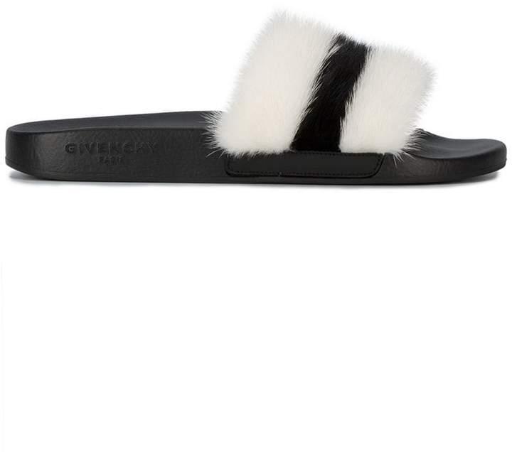 Givenchy striped fur pool slides