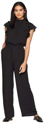 1 STATE 1.STATE Flutter Sleeve Mock Neck Jumpsuit Women's Jumpsuit & Rompers One Piece