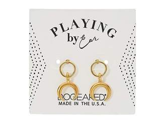 Dogeared Playing By Ear Wing Lip Card Ring with Crescent Studs