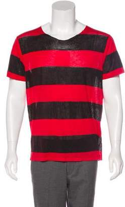 Saint Laurent Distressed Semi-Sheer Striped T-Shirt