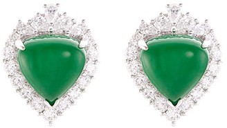 LC Collection Jade Diamond jade 18k white gold earrings