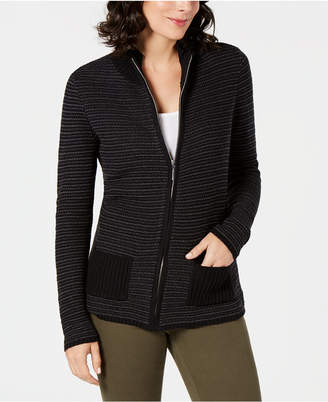 Karen Scott Petite Textured Zip-Front Cardigan