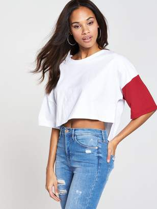 NATIVE YOUTH Colour Block Top - White/Red
