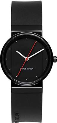 Jacob Jensen New Series Women's Quartz Watch with Black Dial Analogue Display and Black Rubber Strap 763