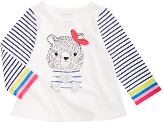57974f05486d First Impressions Baby Girls Long-Sleeve Cotton Bear-Print T-Shirt