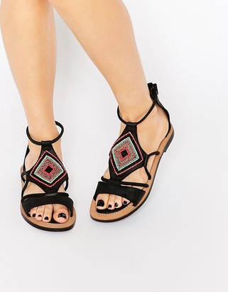 Bronx Bead Leather Flat Sandals $62 thestylecure.com