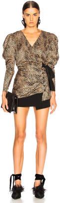 Alessandra Rich Silk Jacquard Leopard Wrap Blouse in Sand | FWRD
