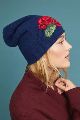 Anthropologie Kitted in Cashmere x Cashmere Flower Bouquet Beanie
