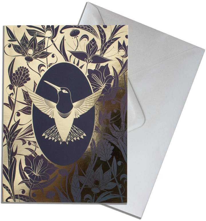 The Curious Department - Elemental Hummingbird Gold Greeting Cards Pack of 10