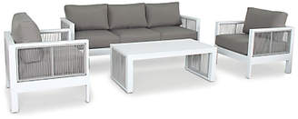 Kettler Katarina 5 Seater Garden Lounge Table and Chairs Set, White/Taupe