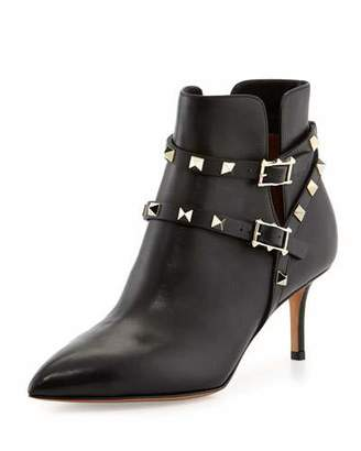 Valentino Rockstud Strappy Ankle Boot, Black $1,375 thestylecure.com