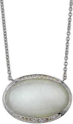 Elizabeth Showers Oval Pave Pendant Necklace, White Moonstone