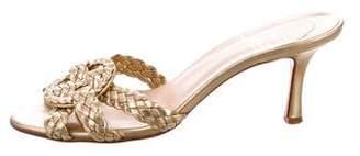 Christian Louboutin Metallic Woven Slide Sandals