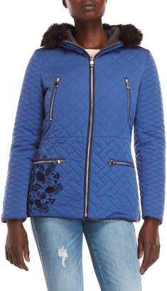 Desigual Fran Embroidered Faux Fur Trim Coat
