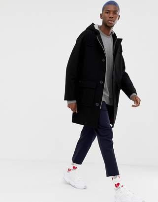 Lacoste Live L!VE hooded duffle coat in black