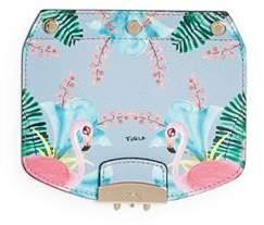 Furla MY PLAY Interchangeable Metropolis Mini Flamingo Print Leather Flap