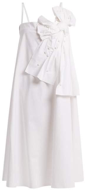 Bow-detail stretch-cotton dress