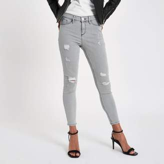 River Island Womens Petite grey Molly ripped skinny fit jeggings