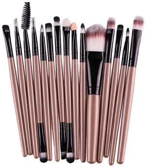 Mapletop 15 pcs/Sets Eye Shadow Foundation Eyebrow Lip Brush Makeup Brushes Tool Gold