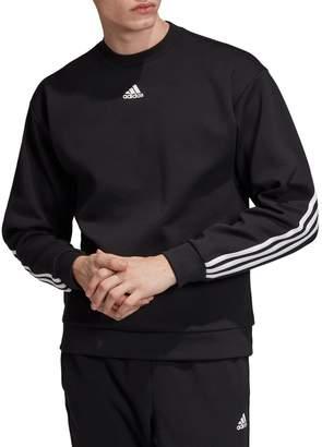 adidas 3-Stripes Cotton Blend Sweatshirt