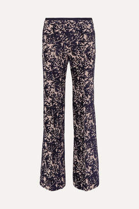 Victoria Victoria Beckham Victoria, Victoria Beckham - Flocked Canvas Flared Pants - Blush