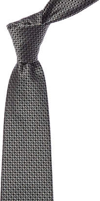 Canali Black Geometric Silk Tie