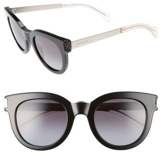 Women's Tommy Hilfiger 49Mm Butterfly Sunglasses - Black/ Matte Palladium $130 thestylecure.com