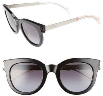 Women's Tommy Hilfiger 49Mm Butterfly Sunglasses - Black/ Matte Palladium $130 thestylecure.com