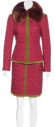 Philosophy di Alberta Ferretti Fox Fur-Trimmed Quilted Skirt Set