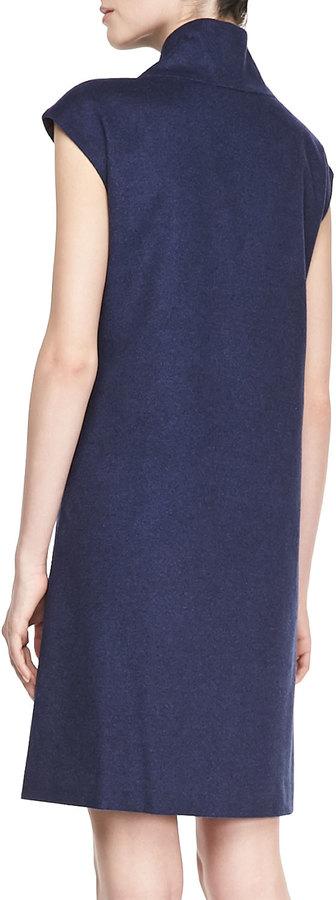 Lafayette 148 New York Milan Leather-Trim Dress