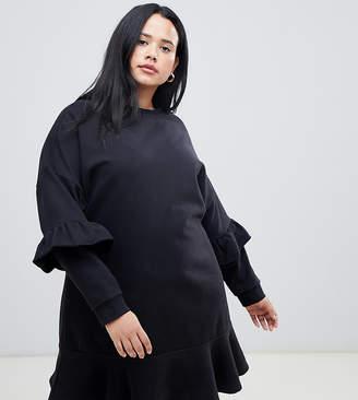 Asos DESIGN Curve pep hem sweat dress with frill sleeve