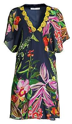 Trina Turk Women's Shangri-La Rainforest Print Silk Shift Dress