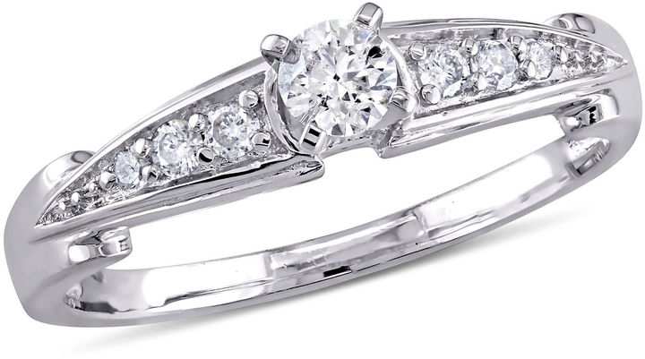 JCPenney FINE JEWELRY 1/4 C.T. T.W. Diamond Engagement Ring Sterling Silver