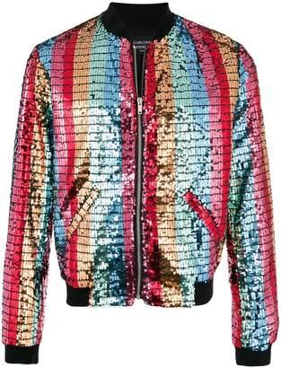 Garcons Infideles striped sequin bomber jacket