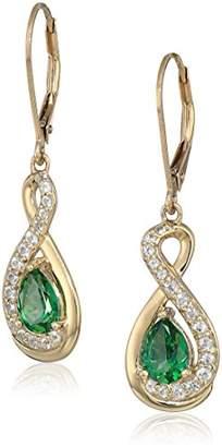 Rainforest Women's Yellow Gold Plated Sterling Silver Swarovski Topaz Lever back Dangle Earrings