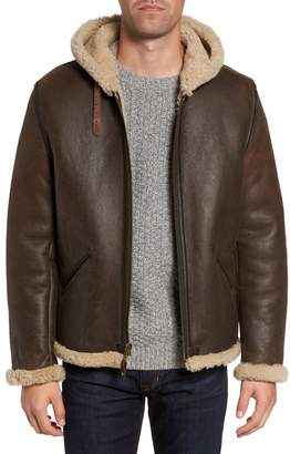 Schott NYC Genuine Shearling Vintage B-6 Hooded Bomber Jacket